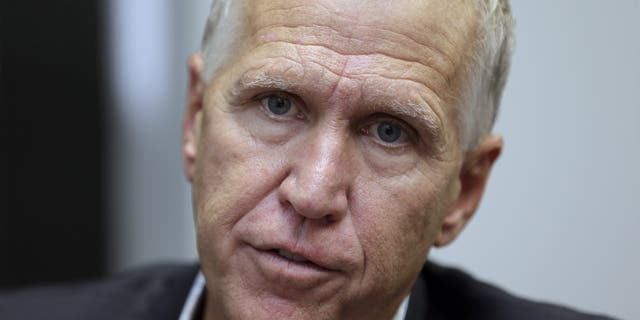In this Monday, Sept. 30, 2019, photo, Sen. Thom Tillis responds to questions during an interview in Raleigh, N.C. North Carolina voters were deciding on Super Tuesday which Democrat they believe can unseat Sen. Thom Tillis and whether the current GOP lieutenant governor is the one best suited to oust Gov. Roy Cooper in the fall. (AP Photo/Gerry Broome)