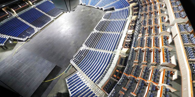The seats are empty at the Amway Center in Orlando, home of the NBA's Orlando Magic, on Thursday, March 12, 2020. The NBA has suspended the season due to the coronavirus.
