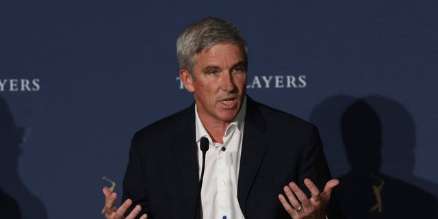 PGA Tour Commissioner Jay Monahan speaks at a news conference at The Players Championship golf tournament, March 12, 2020, in Ponte Vedra Beach, Fla. (Associated Press)