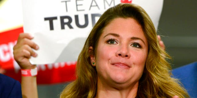 FILE: Sophie Gregoire Trudeau attends a rally for her husband, Canadian Prime Minister Justin Trudeau, in Burnaby, British Columbia. Trudeau's office says Sophie Gregoire Trudeau has tested positive for the coronavirus.