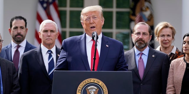 President Donald Trump speaks during a news conference about the coronavirus in the Rose Garden of the White House on Friday. Shortly after, he tweeted that he has declared Sunday, March 15 a National Day of Prayer. (AP Photo/Evan Vucci)