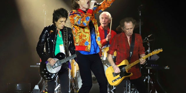 Aug. 5, 2019: Ronnie Wood, from left, Mick Jagger, Charlie Watts and Keith Richards of The Rolling Stones perform in East Rutherford, N.J. The Rolling Stones are postponing its 15-city North American tour because of the coronavirus.