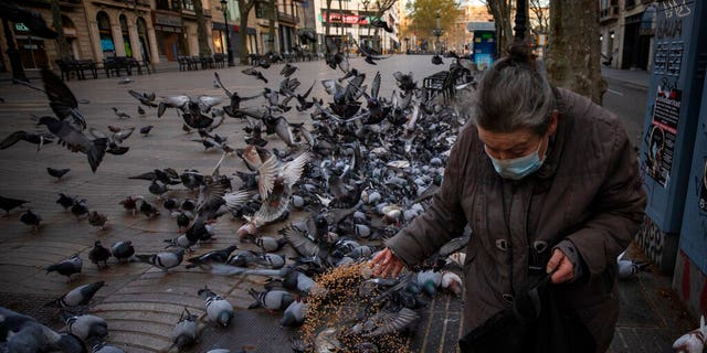 A woman feeds birds in Las Ramblas of Barcelona, Spain, Saturday, March 21, 2020. For some people the COVID-19 coronavirus causes mild or moderate symptoms, but for some it causes severe illness.