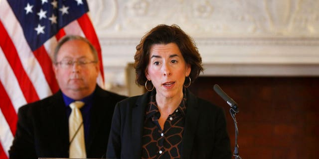 Rhode Island Gov. Gina Raimondo speaks to reporters at the Rhode Island Statehouse, March 22, 2020, in Providence. (Associated Press)