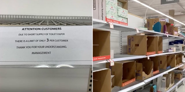 A notice stuck to a shelf instructing customers about a limit on toilet paper purchases is pictured in a supermarket amid coronavirus fears in Sydney, Australia March 4, in this picture obtained from social media.