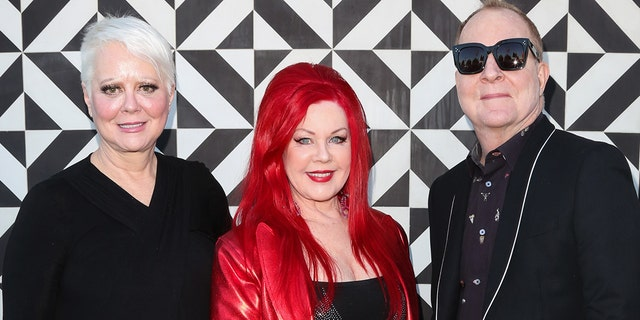 """(L-R) Singers Cindy Wilson, Kate Pierson and Fred Schneider of the rock band The B-52's attend the """"Love Shack Shake"""" event at Shake Shack on January 26, 2018 in West Hollywood, California. (Photo by Paul Archuleta/Getty Images)"""