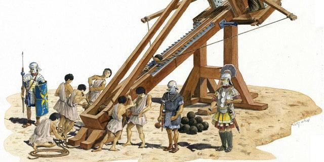 Illustration of a ballista. (Illustration of Shalom Kweller, Courtesy of the City of David Archive)
