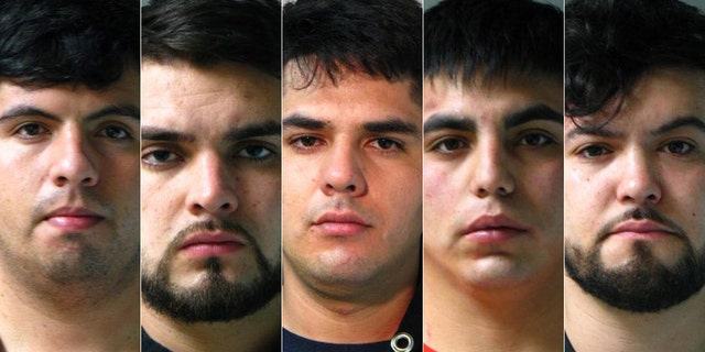 Mug shots for William Jesus Medel-Perez, 23; Amaro Valentino Rosas Rosas, 23; Juan Antonio Hernadez Rosas, 25; Bayron Felipe Cruz Palta, 26; and Fabian Lopez Catalan, 20, charged with burglarizing affluent homes in New York after entering the U.S. on 90-day ESTA Visas.<br> .