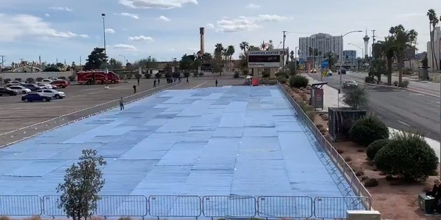 """Padding carpeting was initially included on the parking lot site, but then Las Vegas officials said it couldn't be """"adequately sanitized."""""""