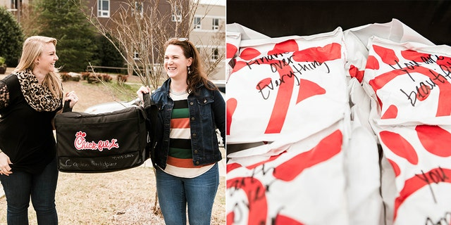 Rachel Reeves of Revolution Church helped deliver over 500 Chick-fil-A sandwiches to two local hospitals this week.<br>