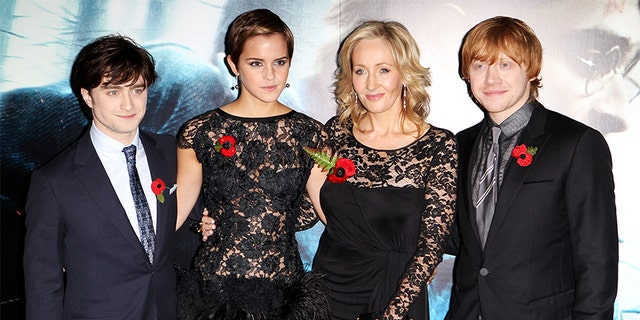 L-R: Daniel Radcliffe, Emma Watson, J.K. Rowling and Rupert Grint attend the world premiere of 'Harry Potter And The Deathly Hallows: Part 1' held at The Odeon Leicester Square on November 11, 2010, in London, England.