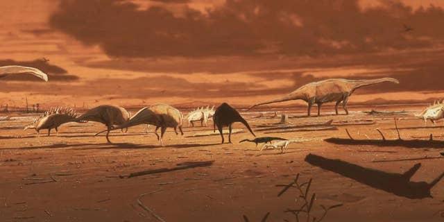 Artists' illustration of dinosaurs on the Isle of Skye.
