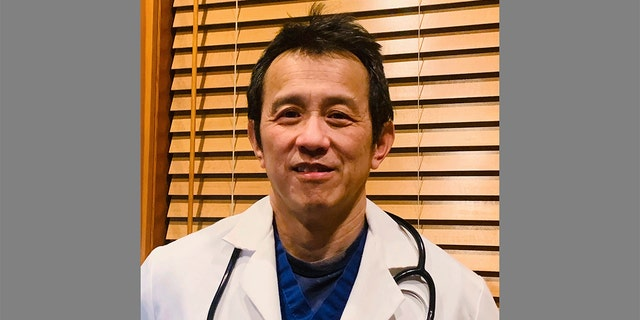 A photo taken Friday, March 27, 2020, in Bellingham, Wash., and provided by Ming Lin hows Dr. Ming Lin, an emergency room doctor at PeaceHealth St. Joseph Medical Center in Bellingham. Lin said Friday he was fired after publicly criticizing the hospital's coronavirus preparations. (Dr. Ming Lin via AP)