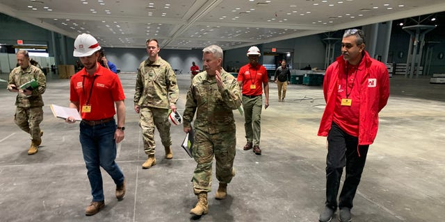 Lt. Gen. Todd Semonite, USACE Commanding General, surveys the Jacob Javits Convention Center in New York Thursday.
