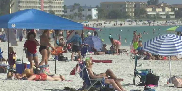 Crowded beaches over the weekend in Treasure Island, Florida after many events were cancelled due to the coronavirus outbreak.