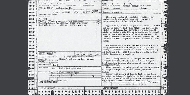 The Flight 19 official accident report for Lieutenant C. C. Taylor, the flight leader.