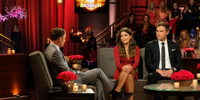 """THE BACHELOR - """"The Bachelor: Season Finale Part 2"""" - Peter and Hannah Ann discuss their relationship in the hot seat during the second night of the live special, season finale event of """"The Bachelor,"""" TUESDAY, MARCH 10 (8:00-10:01 p.m. EDT), on ABC. (John Fleenor via Getty Images) CHRIS HARRISON, HANNAH ANN, PETER WEBER"""
