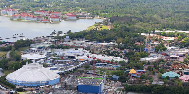 A March 23 photo of Walt Disney World, effectively empty of guests and staff.