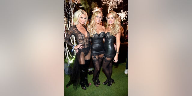 (L-R) Playmates Brande Roderick, Mandy Bentley and Sandy Bentley attend the annual Midsummer Night's Dream party hosted by Hugh Hefner at The Playboy Mansion on August 27, 2016, in Los Angeles, California.