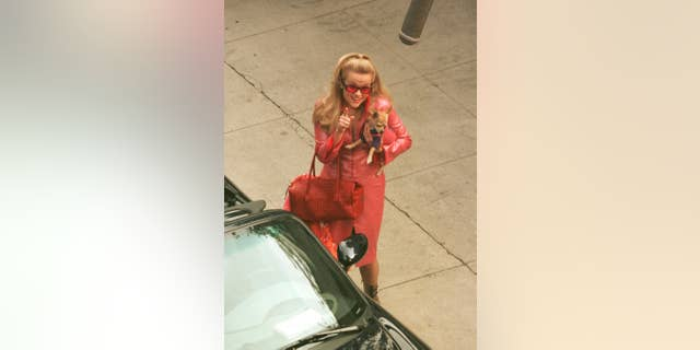 Reese Witherspoon films a scene on the set of 'Legally Blonde.'