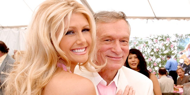 Playmate Of The Year, Brande Roderick poses with Hugh Hefner at the Playmate Of The Year Party April 26, 2001, in Los Angeles, CA.