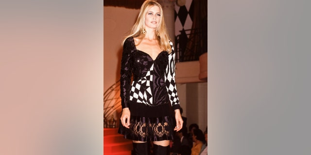 Claudia Schiffer walking the runway, circa 1991.