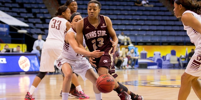 Texas State guard Taeler Deer was MVP of the tournament in a losing effort in 2018. (Photo by Stephen Lew/Icon Sportswire/Corbis/Icon Sportswire via Getty Images)