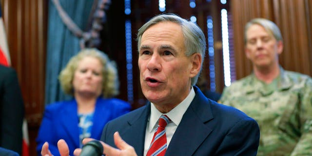 Texas Gov.Greg Abbott gives an update on the coronavirus, Friday, March 13, 2020, in Austin, Texas. (Associated Press)