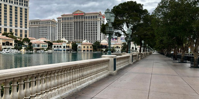 Outside the Bellagio where hundreds of people would normally be lined up to watch the fountains.