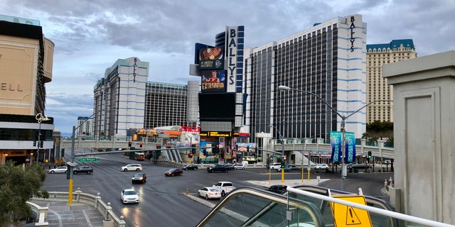 """A dreary, overcast day on the Las Vegas Strip following orders from Nevada Gov. Steve Sisolak to close all """"non-essential"""" businesses for 30 days."""