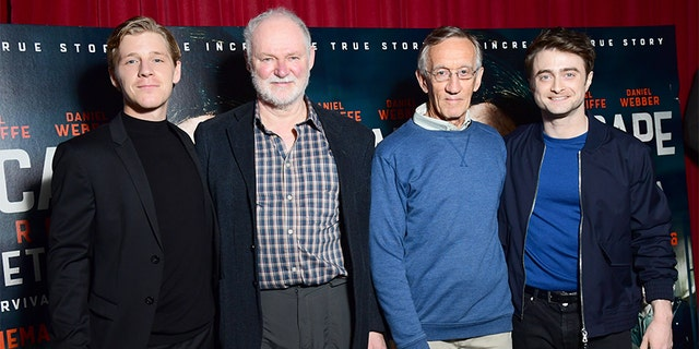 L-R: David Webber, Stephen Lee, Tim Jenkin and Daniel Radcliffe attend a screening for the new film 'Escape from Pretoria' at the Soho Curzon in London.