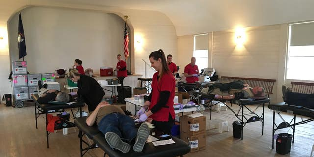 Donors give blood in Boothsbay, Maine at the American Red Cross donation drive