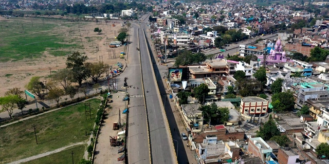 An aerial view of the city is seen under complete lockdown amid growing concerns of coronavirus in Prayagraj, India, Tuesday, March 24, 2020.