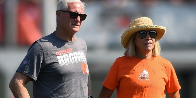 Cleveland Browns co-owners Jimmy and Dee Haslam donated to help Ohio coronavirus efforts. (Photo by: 2019 Nick Cammett/Diamond Images via Getty Images)