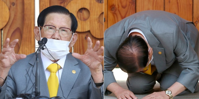 Lee Man-hee, the head of Jesus Xintiandi Church, paid tribute to a press conference in Gapyeong, South Korea on Monday, March 2, 2020.At the hastily arranged press conference, the 88-year-old religious leader Li Geguo was the country's largest infected group, succumbing to the ground twice and causing