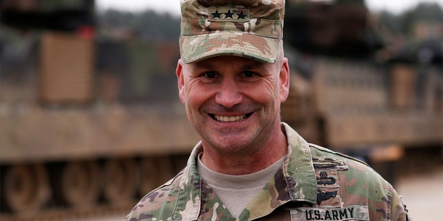 U.S. Army Europe Commander Christopher Cavoli smiles during a media briefing after deployment of U.S. troops from 2nd Armored Brigade Combat Team, 1st Armored Division for military exercises in Drawsko Pomorskie training area, Poland March 21, 2019. REUTERS/Kacper Pempel