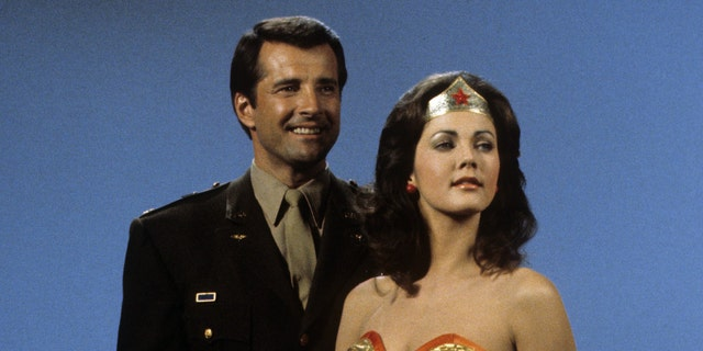 Lyle Waggoner and Lynda Carter in 'Wonder Woman.' (Photo by Walt Disney Television via Getty Images Photo Archives/Walt Disney Television via Getty Images)