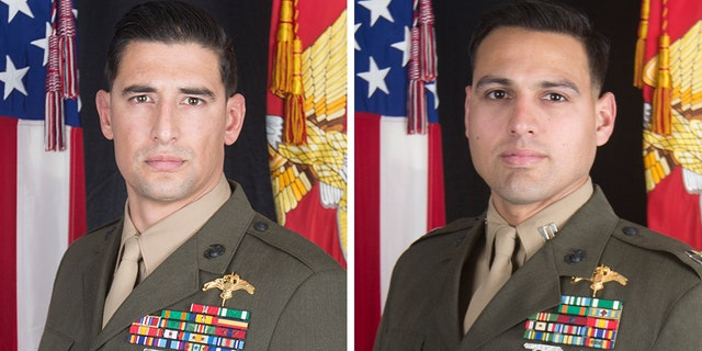 Gunnery Sgt. Diego D. Pongo, 34, left, of Simi Valley, Calif., and Capt. Moises A. Navas, 34, of Germantown, Md., each suffered fatal wounds Sunday while accompanying Iraqi Security Forces during a mission to eliminate an ISIS stronghold in a mountainous area of north central Iraq.