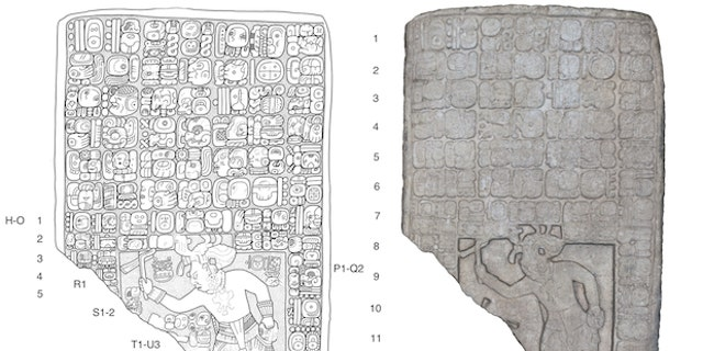 A drawing of a tablet found at the site (left) and a 3D-model of the tablet (left).