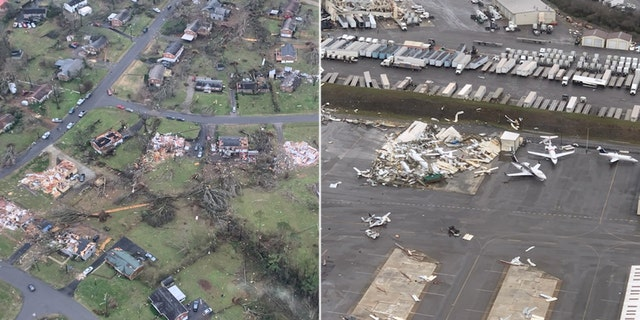 Damage after the tornado tore through Nashville, as seen from a Metro Nashville Police Department police helicopter.