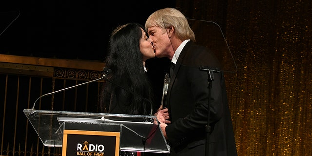 Connie Sellecca and John Tesh take the stage during the Radio Hall of Fame Class of 2019 Induction Ceremony at Gotham Hall on November 08, 2019, in New York City.