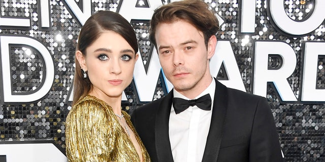 Natalia Dyer and Charlie Heaton co-star in 'Stranger Things.' (Photo by Frazer Harrison/Getty Images)