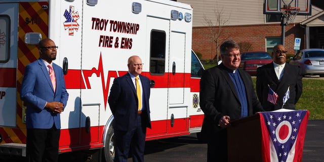 Pastor Paul Lintern of Oakland Lutheran and Southside Christian Church speaks outside the Troy Township Fire Station before joining three other clergy in reading the joint proclamation.