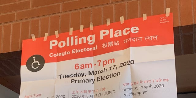 A polling location in Chicago, Illinois on primary day - March 17, 2020