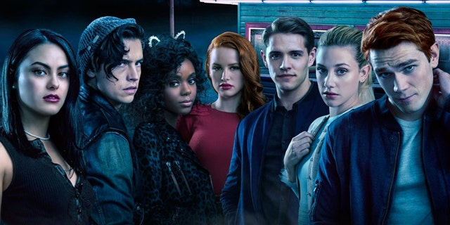The 'Riverdale' cast (L-R): Camila Mendes, Cole Sprouse, Ashleigh Murray, Madelaine Petsch, Casey Cott, Lili Reinhart, KJ Apa