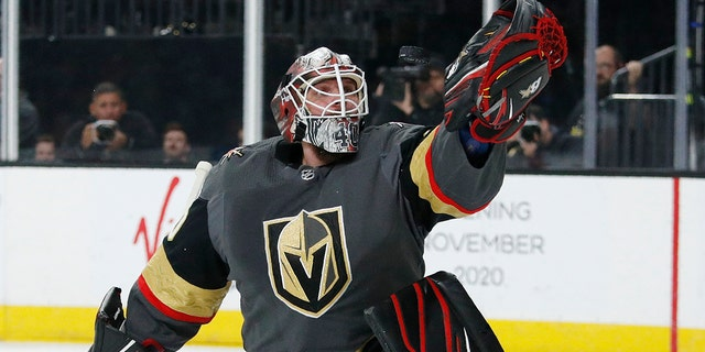 Vegas Golden Knights goaltender Robin Lehner (90) makes a save against the Buffalo Sabres during the first period of an NHL hockey game Friday, Feb. 28, 2020, in Las Vegas. (AP Photo/John Locher)