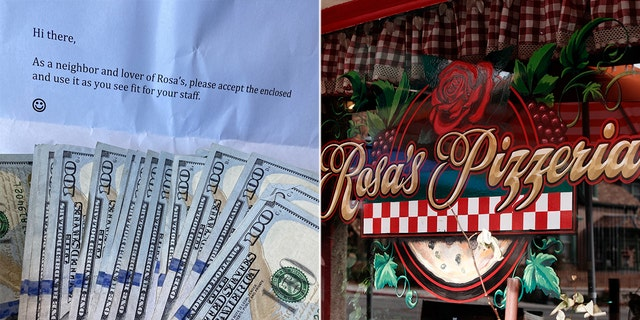 Skyler Reeves, owner of Rosa's Pizzeria, in Prescott, Ariz., received an anonymous gift of $2,000 from a local customer.