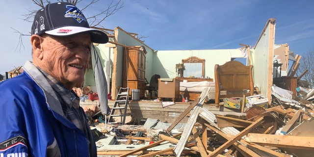 Billy Leath, 86, shows the bedroom Wednesday, March 4, 2020 where he and his 83-year-old wife sheltered from the tornado that destroyed his Putnam County, Tennessee, neighborhood early Tuesday.