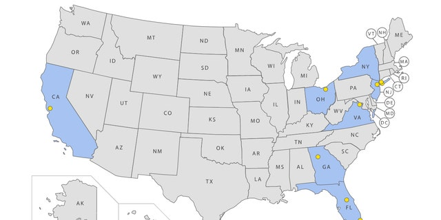 The above map, created by the TSA, shows the location of airports where officers tested positive for COVID-19 as of March 23.