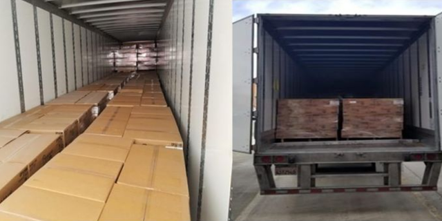 Police on Wednesday pulled over a stolen tractor-trailer with about 18,000 pounds of commercial bathroom paper products inside.